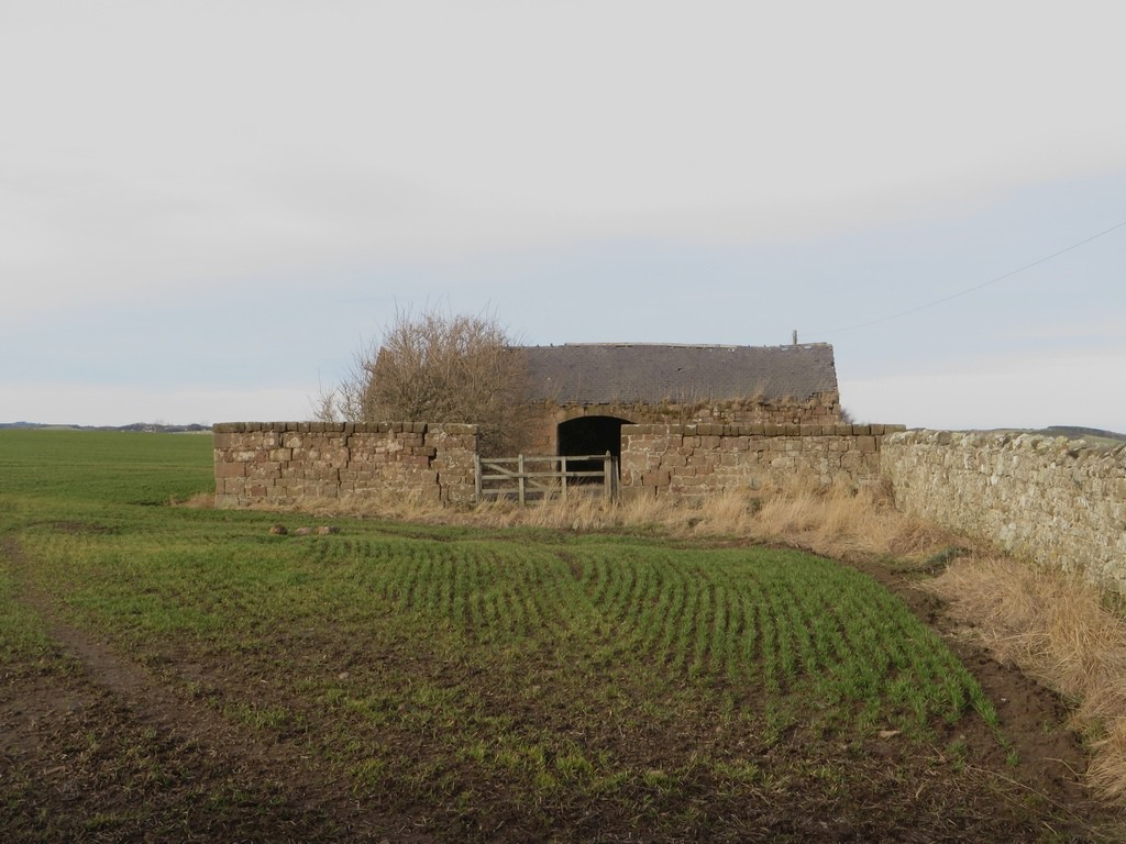 A derelict stone barn beside the footpath to Adderstone Mains