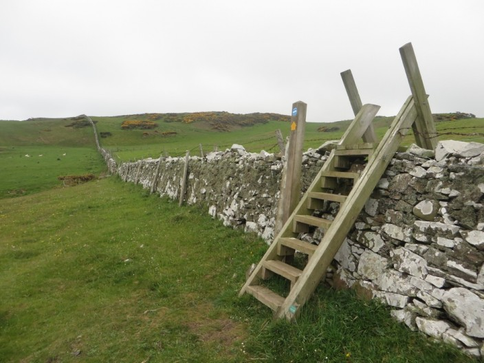A stile over a wall on the Berwickshire Coast Path